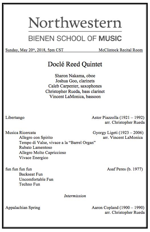 Docle Recital #1 Program website